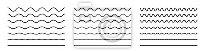 Papiers peints Wave line and wavy zigzag pattern lines. Vector black underlines, smooth end squiggly horizontal curvy squiggles