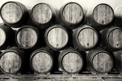 Papiers peints Whisky ou de vin de barils en noir et blanc