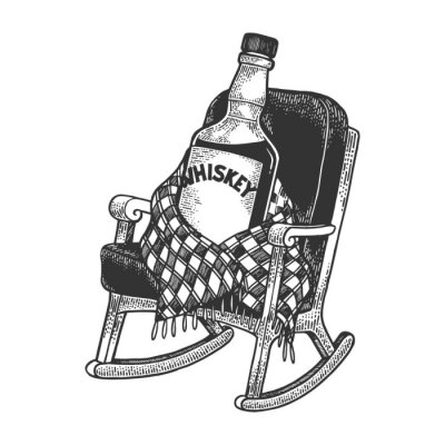 Whisky whiskey bottle sits in rocking chair covered with plaid sketch engraving vector illustration. Tee shirt apparel print design. Scratch board style imitation. Black and white hand drawn image.