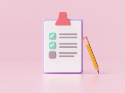 Papiers peints White clipboard with checklist on pink background. 3d render illustration.
