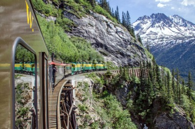 Papiers peints White Pass Yukon Route Railroad voyage le long des falaises se dirigeant vers Skagway, Alaska