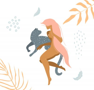Papiers peints Wild cat and naked woman laying down in nature apparel print design.