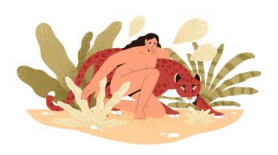 Papiers peints Wilderness naked woman hug jaguar at tropical bushes vector flat illustration. Predator and human together isolated. Contemporary concept of wild female nature, environment protection.