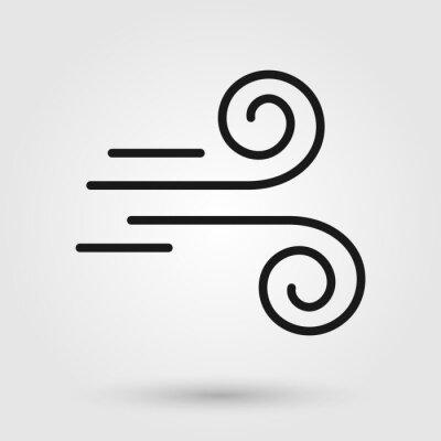Papiers peints Wind blow icon. Breezy weather symbol.