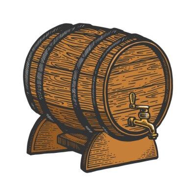 Wine beer wooden barrel sketch engraving vector illustration. T-shirt apparel print design. Scratch board imitation. Black and white hand drawn image.