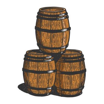 Wine beer wooden barrels sketch engraving vector illustration. T-shirt apparel print design. Scratch board imitation. Black and white hand drawn image.