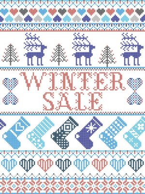 Winter Sale Scandinavian illustration inspired by Norwegian Christmas, festive winter pattern in cross stitch with reindeer, Christmas tree, heart, snowflakes, snow, stockings in red, white,blue