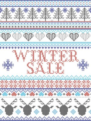 Winter Sale Scandinavian style illustration, inspired by Norwegian Christmas, festive winter pattern in cross stitch with reindeer, Christmas tree, heart, snowflakes, snow,star in red, grey, blue,