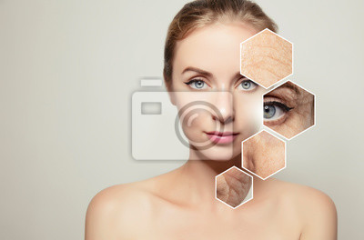 Papiers peints woman beauty portrait with graphic elements with old skin
