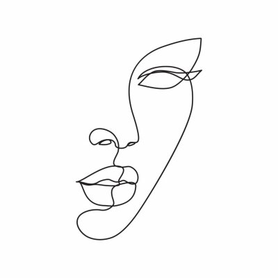 Papiers peints Woman face line drawing art. Abstract minimal female face icon, logo