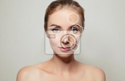 Papiers peints woman face portrait with problem old skin