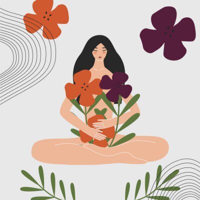 Papiers peints Woman health and gynecology concept. Wild and natural female beauty. Beautiful pregnant naked asian girl holding bouquet of flowers. Idea of fertility, body positivity. Flat vector illustration