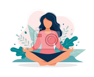 Papiers peints Woman meditating in nature and leaves. Concept illustration for yoga, meditation, relax, recreation, healthy lifestyle. Vector illustration in flat cartoon style