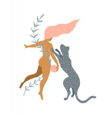 Papiers peints Woman naked and Wild Cat minimal silhouette modern art print design.