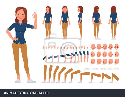 Papiers peints Woman wear blue jeans shirt character vector design. Create your own pose.