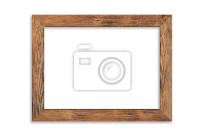 Papiers peints Wood picture frame isolated on white background with clipping path . Image display concept