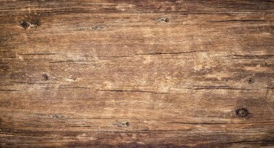 Papiers peints Wood texture background. Surface of old knotted wood with nature color, texture and pattern. Top view of weathered vintage wooden table with cracks. Brown rustic rough wood for backdrop.