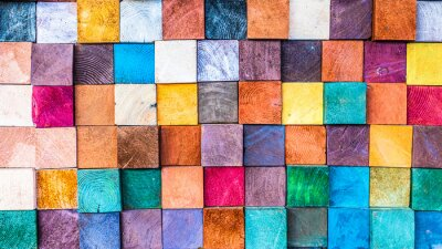 Papiers peints Wood texture block stack on the wall for background, Abstract colorful wood texture.