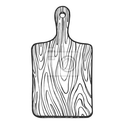 Wooden Cutting board sketch engraving vector illustration. Scratch board style imitation. Hand drawn image.