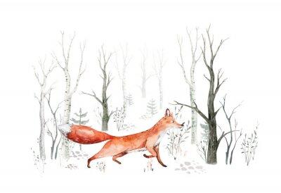 Papiers peints Woodland watercolor cute animals baby fox. Nursery bunny Scandinavian forest nursery fox design. Isolated character