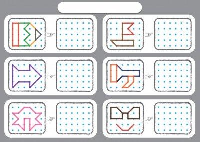 Papiers peints worksheet for preschool kids, Dot to dot copy practice, copy the shapes, Visual perception activities, fine motor skills