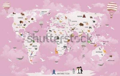 Papiers peints World map animals for child room wallpaper
