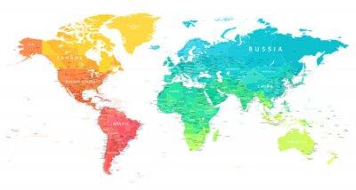 Papiers peints World Map Color Bright Political - Vector Detailed Illustration
