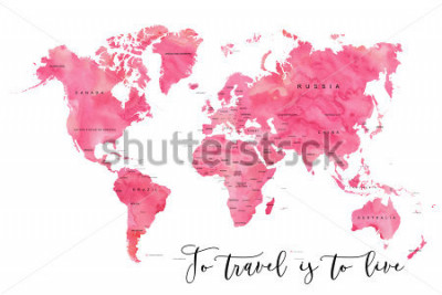 Papiers peints World map filled with pink watercolour effect and country names, with plenty of space to insert your own quote under the image.