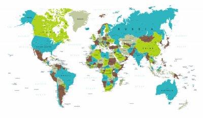 Papiers peints World Map Political Blue Green Grey Vector