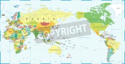 Papiers peints World map white blue, Asia in center vector.