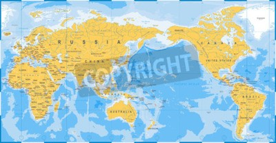 Papiers peints World map yellow blue, Asia in Center vector.