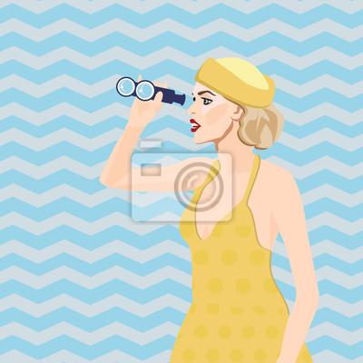 Papiers peints Wow femme pop art avec des cheveux blonds et la bouche  ouverte tenant des d570dd51665