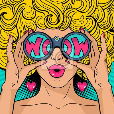 Papiers peints Wow visage d art pop. Sexy femme surprise avec des cheveux  blonds 39fb7390ad5