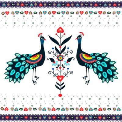 Papiers peints Wzór haftu z pawiami