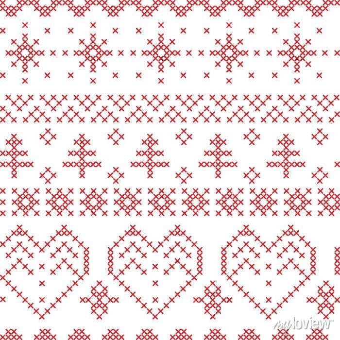 Papiers peints Xmas pattern inspiré par des motifs de croix nordique