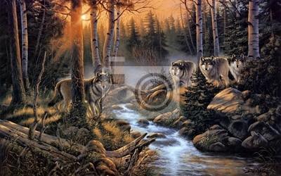 Papiers peints Стая волков