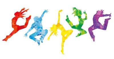 Papiers peints ダンサー5人横並べ(カラフルカラー)