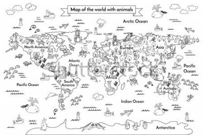 Papiers peints Coloring book map of the world. Ð¡artoon globe with animals. Black and white hand drawn vector illustration. Oceans and continent: South America, Eurasia, North America, Africa, Australia