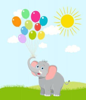 Papiers peints Éléphant de bébé avec des ballons, des nuages et le soleil. Vecteur de bande dessinée. Hein