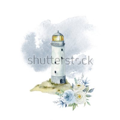 Papiers peints Illustration aquarelle avec un phare, des nuages et un bouquet de fleurs