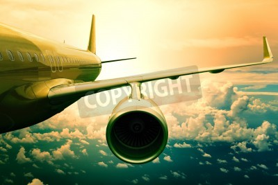 Papiers peints jet de passagers plan flyin-dessus des nuages utilisation émissaire pour le transport de l'avion et les voyages d'affaires fond