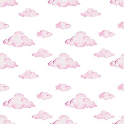 Papiers peints Modèle de douche de bébé aquarelle. Nuages roses sur le fond blanc. Pour la conception, l'impression ou le fond