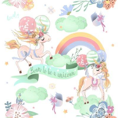 Papiers peints Modèle sans couture mignon licornes. Modèle enfants avec licornes, fleurs, ballons, nuages et arc-en-ciel
