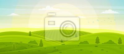 Papiers peints Paysage rural ensoleillé avec des collines et des champs à l'aube. Été vert collines, prés et champs, ciel bleu avec des nuages blancs.