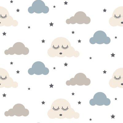 Sleepy nuages seamless kid vecteur modèle. Fond gris, bleu et blanc. Mignon bébé style tissu textile dessin animé scandinave.