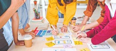 Papiers peints Young Asian business creative team work together, mobile application software design project. Brainstorm meeting, internet technology, smartphone web app designer, office coworker teamwork concept