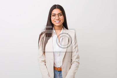 Papiers peints Young business arab woman isolated against a white background happy, smiling and cheerful.