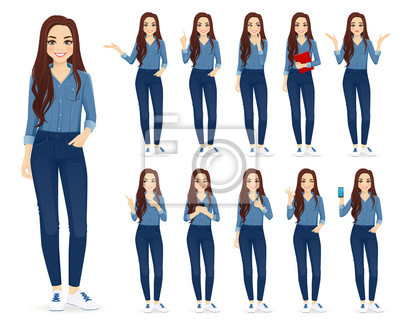 Papiers peints Young woman with long hair in casual denim shirt and jeans set different gestures isolated vector iilustration
