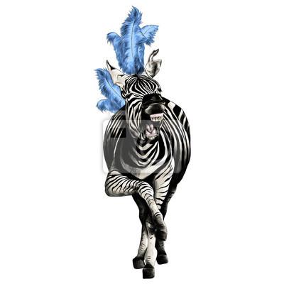 Papiers Peints Zebra Pleine Hauteur Souriant Avec Des Plumes Sur Sa Tête Agit