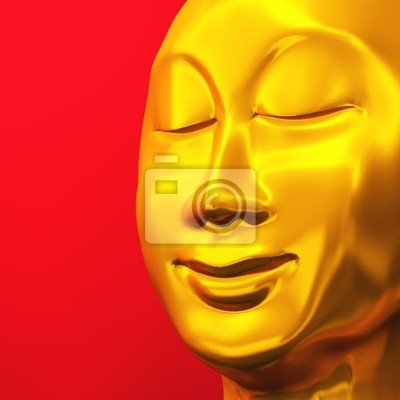 Zen Bouddha Gesicht Or Rot 01 Papier Peint Papiers Peints Vue